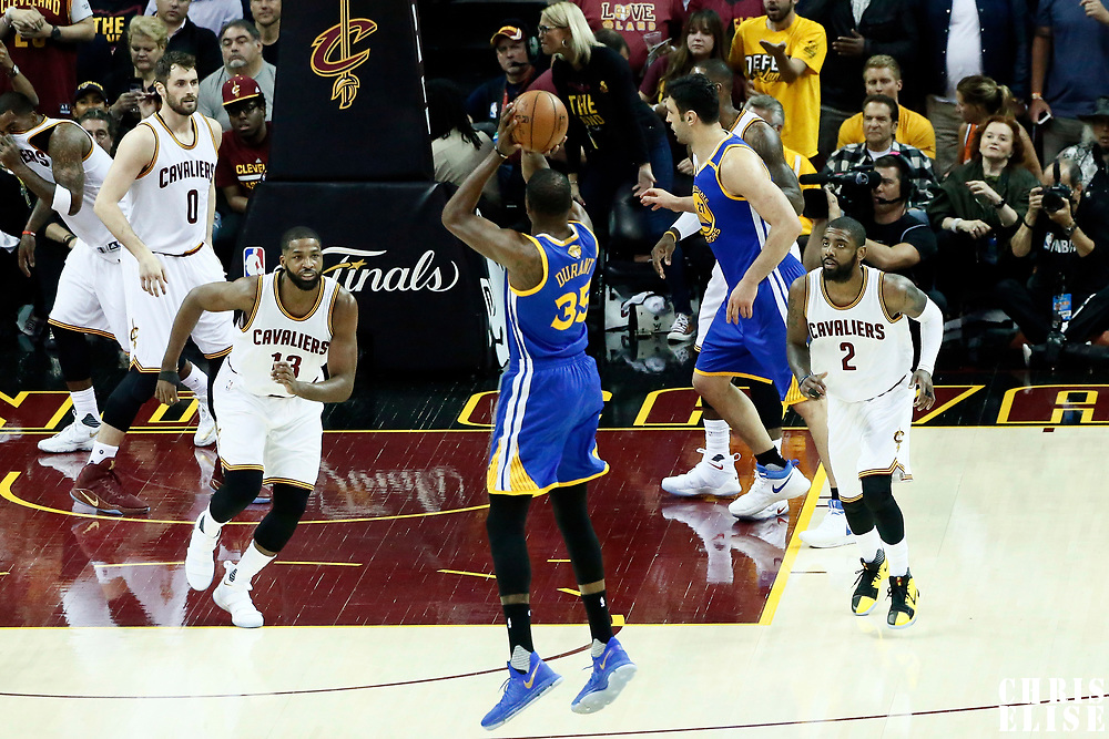 07 June 2017: Golden State Warriors forward Kevin Durant (35) takes a jump shot during the Golden State Warriors 118-113 victory over the Cleveland Cavaliers, in game 3 of the 2017 NBA Finals, at  the Quicken Loans Arena, Cleveland, Ohio, USA.