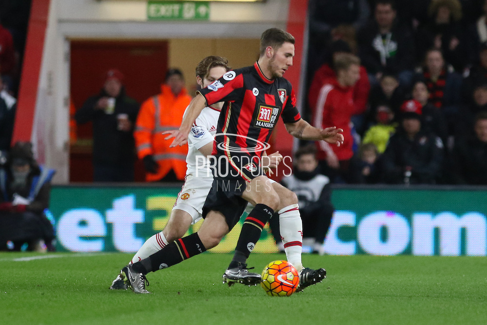 Dan Gosling of Bournemouth during the Barclays Premier League match between Bournemouth and Manchester United at the Goldsands Stadium, Bournemouth, England on 12 December 2015. Photo by Phil Duncan.