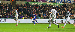 SWANSEA, WALES - Sunday, December 22, 2013: Everton's Seamus Coleman scores the first goal against Swansea City during the Premiership match at the Liberty Stadium. (Pic by David Rawcliffe/Propaganda)