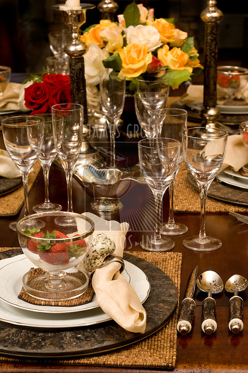 Lavish table setting with floral centerpiece