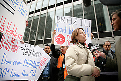 Actress Sigourney Weaver joins in the protest against Belo Monte Damn. Organized by the Amazon Watch organization during the UN Permanent Forum on Indigenous Issues, Brazilian Mission to the UN, NYC, 2010.