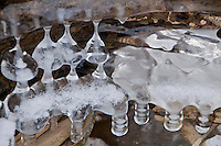 Different ice shapes and formations on a riverbank in Switzerland during the extremely cold spell in February 2012.