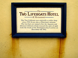 UK ENGLAND NORFOLK SHERINGHAM 7MAY06 - Commemorative plaque on the Two Lifeboats Hotel near the beach at Sheringham, north Norfolk coast...jre/Photo by Jiri Rezac..© Jiri Rezac 2006..Contact: +44 (0) 7050 110 417.Mobile:  +44 (0) 7801 337 683.Office:  +44 (0) 20 8968 9635..Email:   jiri@jirirezac.com.Web:    www.jirirezac.com..© All images Jiri Rezac 2006 - All rights reserved.