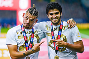 Leeds United midfielder Kalvin Phillips (23) and Leeds United defender Pascal Struijk (34) celebrates winning the EFL Sky Bet Championship during the EFL Sky Bet Championship match between Leeds United and Charlton Athletic at Elland Road, Leeds, England on 22 July 2020.
