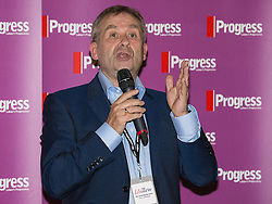 © Licensed to London News Pictures . 27/09/2015 . Brighton , UK . General Secretary of USDAW , JOHN HANNETT , speaks at a Progress Rally fringe event at screen one of the Odeon Cinema on Brighton seafront , during the 2015 Labour Party Conference . Photo credit : Joel Goodman/LNP