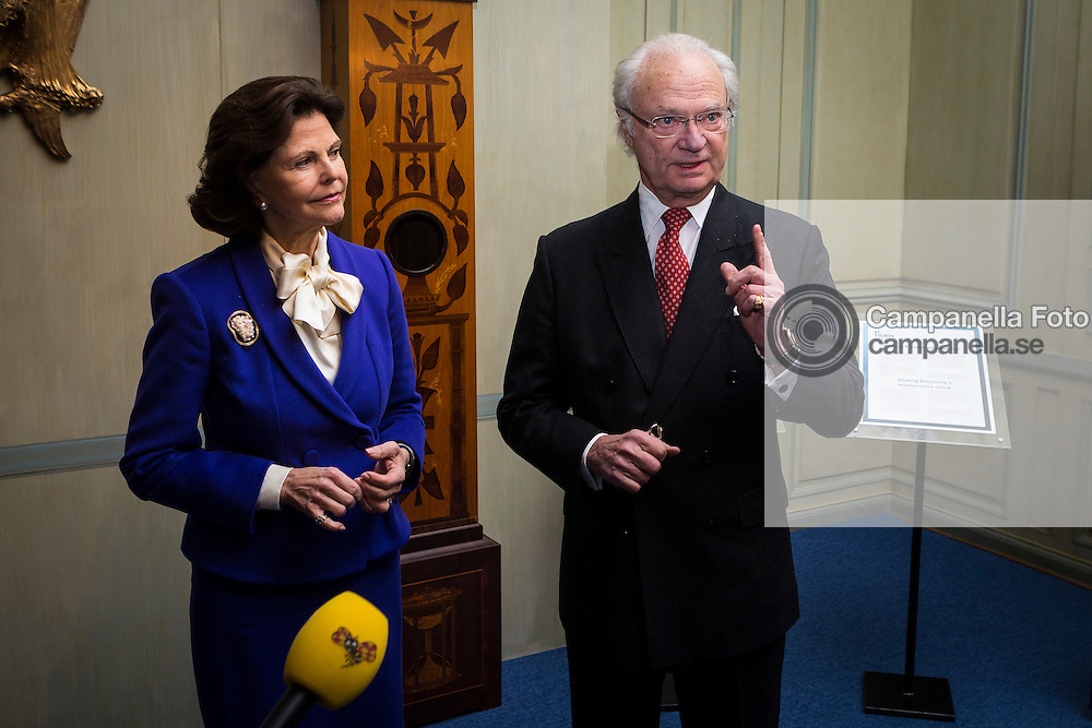 STOCKHOLM, SWEDEN - DECEMBER 21: King Carl XVI Gustaf of Sweden and Queen Silvia of Sweden attend the opening of the exhibition 'In Course of Time, 400 Years Of Royal Clocks'  at the Royal Palace on January 22, 2016 in Stockholm, Sweden. (Photo by Michael Campanella/Getty Images)