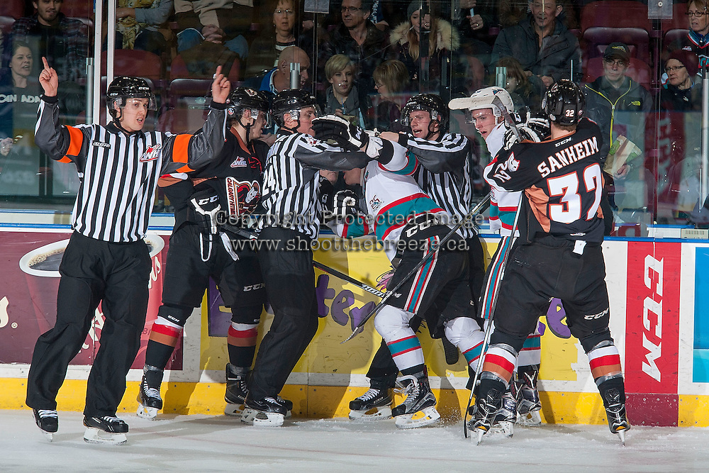 KELOWNA, CANADA - FEBRUARY 6: Officials break up players on February 6, 2016 at Prospera Place in Kelowna, British Columbia, Canada.  (Photo by Marissa Baecker/Shoot the Breeze)  *** Local Caption ***