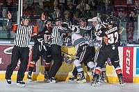KELOWNA, CANADA - FEBRUARY 6: Officials break up players on February 6, 2016 at Prospera Place in Kelowna, British Columbia, Canada.  (Photo by Marissa Baecker/Shoot the Breeze)  *** Local Caption ***