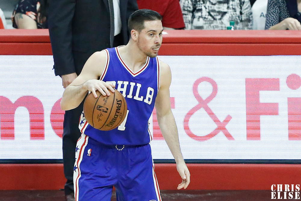 11 March 2017: Philadelphia 76ers guard TJ McConnell (1) dribbles during the LA Clippers 112-100 victory over the Philadelphia Sixers, at the Staples Center, Los Angeles, California, USA.