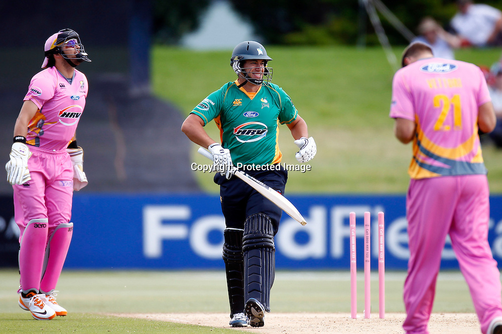 Ross Taylor reacts after getting stumped by Peter McGlashan during the HRV Cup match between the Northern Knight v Central Stags. Men's domestic Twenty20 cricket. Blake Park, Mt Maunganui, New Zealand. Thursday 5 January 2012. Ella Brockelsby / photosport.co.nz