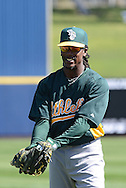 PHOENIX, AZ - FEBRUARY 23:  Jemile Weeks #19 of the Oakland Athletics warms up prior to the spring training game against the Milwaukee Brewers at Maryvale Baseball Park on February 23, 2013 in Phoenix, Arizona.  (Photo by Jennifer Stewart/Getty Images)
