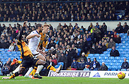 Sone Aluko of Hull City stretches for the ball during the Sky Bet Championship match at Elland Road, Leeds<br /> Picture by Graham Crowther/Focus Images Ltd +44 7763 140036<br /> 05/12/2015