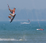 Kite boarding on Lake Michigan near Baileys Harbor, Wisconsin in Door County.  (Photo/Mike Roemer)