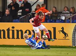Lauren Hemp of Bristol City Women is tackled by Kirsty Pearce of Reading Women - Mandatory by-line: Paul Knight/JMP - 28/10/2017 - FOOTBALL - Stoke Gifford Stadium - Bristol, England - Bristol City Women v Reading Women - FA Women's Super League
