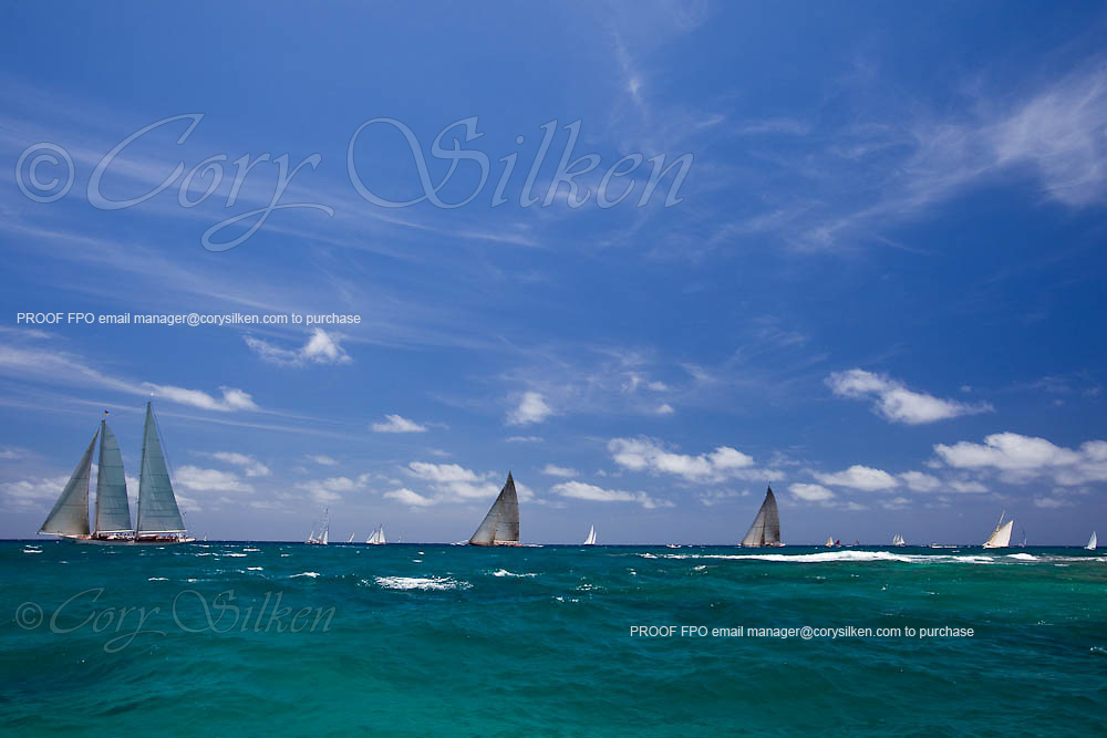 Windrose, Velsheda, Ranger, and Kate sailing in the 2010 Antigua Classic Yacht Regatta, Windward Race, day 4.