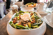 Lenthil and spinach salad with a poached egg at the Fat Hen.
