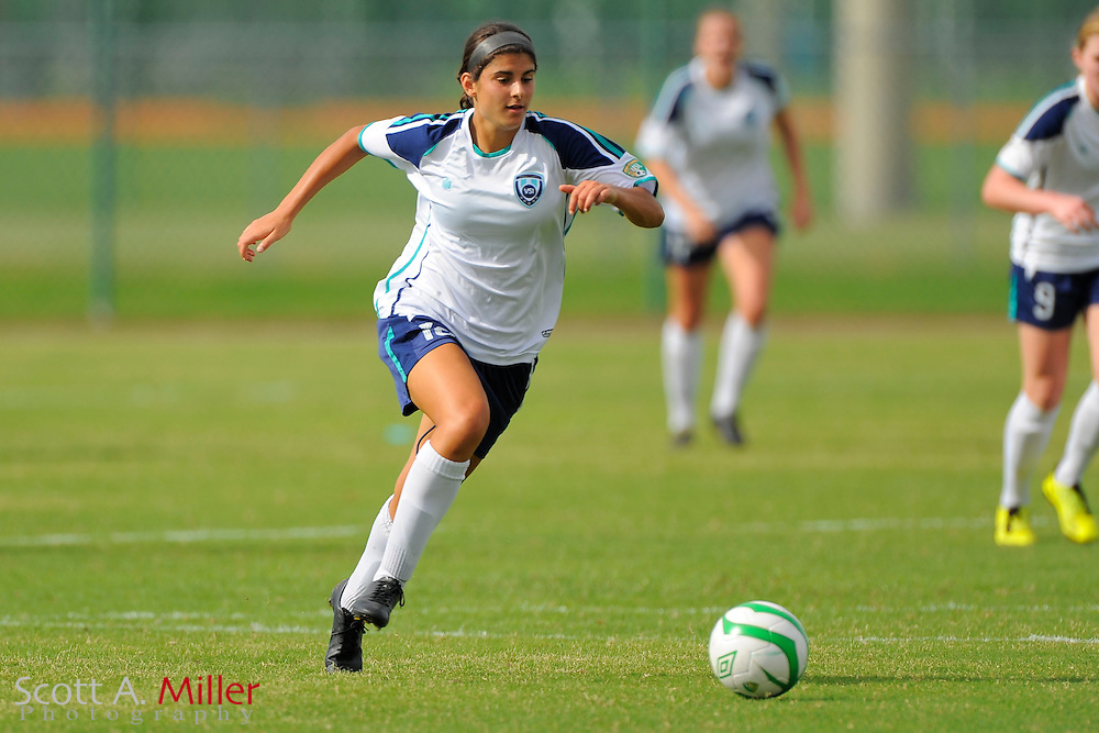 VSI Tampa Bay forward Gabrielle Russo (18) in action against the Charlotee Lady Eagles in a USL W-League soccer match at Plant City stadium in Plant City, Florida on June 7, 2013.<br /> <br /> &copy;2013 Scott A. Miller