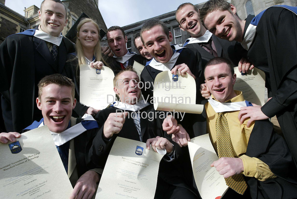 24/10/2002.Pictured yesterday at the conferring ceremony at Waterford Institute of Technology were students from the National Diploma in Engineering and Civil Engineering celebrating their conferral ..Picture Dylan Vaughan.