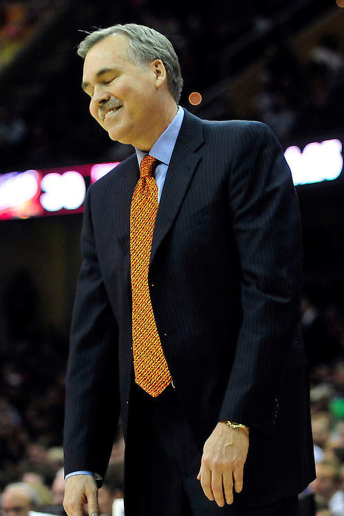 Feb. 25, 2011; Cleveland, OH, USA; New York Knicks head coach Mike D'Antoni during the second quarter against the Cleveland Cavaliers at Quicken Loans Arena. Mandatory Credit: Jason Miller-US PRESSWIRE