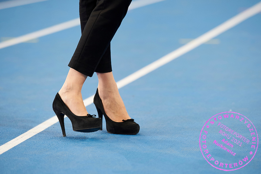 Paulina Chylewska's high heels on the track during athletics meeting Pedro's Cup at Atlas Arena in Lodz, Poland.<br /> <br /> Poland, Lodz, February 17, 2015<br /> <br /> Picture also available in RAW (NEF) or TIFF format on special request.<br /> <br /> For editorial use only. Any commercial or promotional use requires permission.<br /> <br /> Adam Nurkiewicz declares that he has no rights to the image of people at the photographs of his authorship.<br /> <br /> Mandatory credit:<br /> Photo by &copy; Adam Nurkiewicz / Mediasport