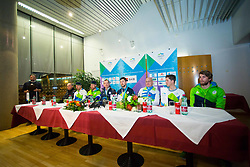 Press conference during Arrival of Jakov Fak, Silver medalist at Olympic Games in Pyeongchang 2018, on February 25, 2018 in Aerodrom Ljubljana, Letalisce Jozeta Pucnika, Kranj, Slovenia. Photo by Ziga Zupan / Sportida