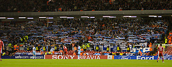 Liverpool, England - Wednesday, October 3, 2007: Olympique de Marseille's supporters celebrate their 1-0 victory over Liverpool during the UEFA Champions League Group A match at Anfield. (Photo by David Rawcliffe/Propaganda)