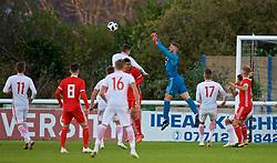 BANGOR, WALES - Monday, October 15, 2018: Wales' goalkeeper Adam Przybek during the UEFA Under-19 International Friendly match between Wales and Poland at the VSM Bangor Stadium. (Pic by Paul Greenwood/Propaganda)