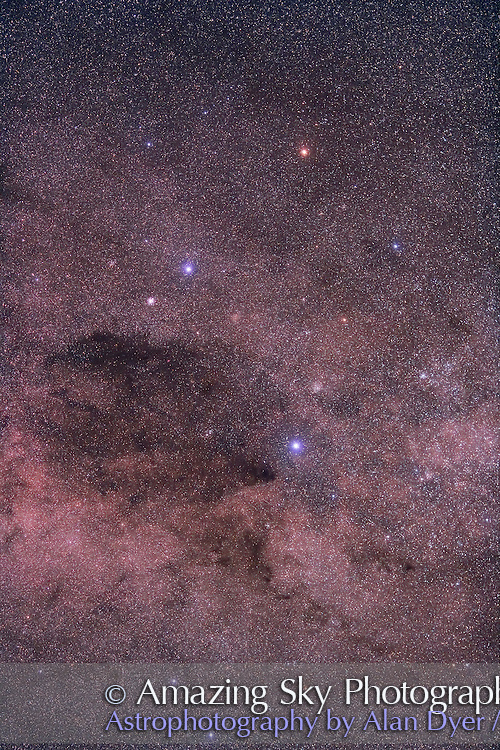 Southern Cross (Crux) and Coal Sack, field oriented equatorially, with Hutech-modified Canon 5D camera with 135mm f/2 Canon L lens at f/2.8 for 4 minutes each at ISO400. Stack of 4 exposures, averaged stacked. Taken from Queensland, Australia, June 2006. Glow added in Photoshop to bright stars.