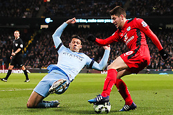 Andrej Kramaric of Leicester City and Manchester City's Martin Demichelis  - Photo mandatory by-line: Matt McNulty/JMP - Mobile: 07966 386802 - 04/03/2015 - SPORT - football - Manchester - Etihad Stadium - Manchester City v Leicester City - Barclays Premier League
