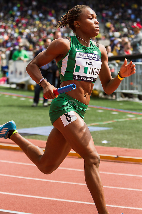 Penn Relays, USA vs the World, womens 4 x 400 meter relay, Ossai, Nigeria