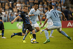 August 9, 2017 - Kansas City, Kansas, United States - Kansas City, KS - Wednesday August 9, 2017: Jackson Yueill, Roger Espinoza, Diego Rubio during a Lamar Hunt U.S. Open Cup Semifinal match between Sporting Kansas City and the San Jose Earthquakes at Children's Mercy Park. (Credit Image: © Amy Kontras/ISIPhotos via ZUMA Wire)