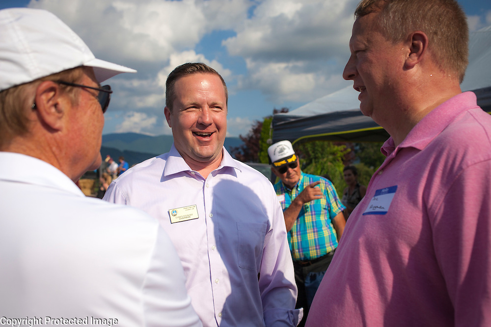 Prince William County Supervisor, Corey Stewart greets Dave Briggman (right), a Virginia Republican blogger and radio host, during an appearance at the Page County , VA GOP Jamboree, in Luray, VA on Saturday, June 25, 2016.  Stewart recently ran the Trump operation in Virginia and is running for Governor in 2017.  Stewart later made a brief speech, along with other candidates for political office in Virginia.  John Boal Photography