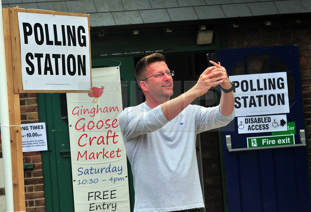 © Licensed to London News Pictures. 08/06/2017 <br /> Polling day selfie.<br /> Voters at Hayes Village Hall,Hayes,Bromley,Greater London.<br /> UK General Election polling day. <br /> Photo credit: Grant Falvey/LNP