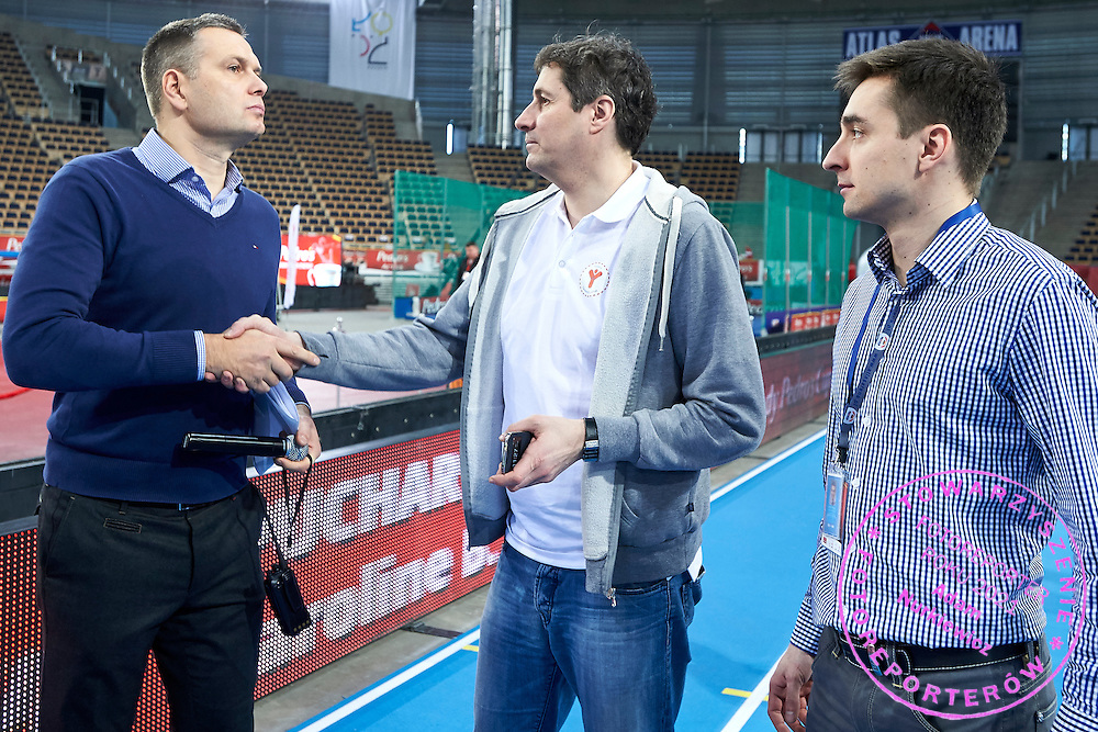 (L-R) Sebastian Chmara and Artur Partyka and Marek Plawgo during Youth Pedro&rsquo;s Cup by Caroline B. LeFrak Foundation while athletics meeting Pedro's Cup at Atlas Arena in Lodz, Poland.<br /> <br /> Poland, Lodz, February 17, 2015<br /> <br /> Picture also available in RAW (NEF) or TIFF format on special request.<br /> <br /> For editorial use only. Any commercial or promotional use requires permission.<br /> <br /> Adam Nurkiewicz declares that he has no rights to the image of people at the photographs of his authorship.<br /> <br /> Mandatory credit:<br /> Photo by &copy; Adam Nurkiewicz / Mediasport