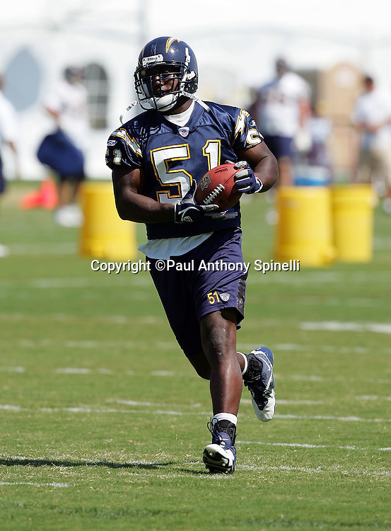 SAN DIEGO - JUNE 10:  Linebacker Tim Dobbins #51, the San Diego Chargers fifth round pick in the 2006 NFL draft, works out during mini camp at Chargers Park on June 10, 2006 in San Diego, California. ©Paul Anthony Spinelli *** Local Caption *** Tim Dobbins