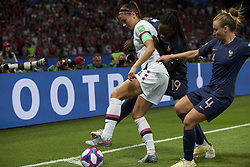 June 28, 2019 - Paris, France - Alex Morgan (Orlando Pride) of United States and Griedge Mbock Bathy (Olympique Lyon) and Marion Torrent (Montpellier HSC) of France battle for the ball during the 2019 FIFA Women's World Cup France Quarter Final match between France and USA at Parc des Princes on June 28, 2019 in Paris, France. (Credit Image: © Jose Breton/NurPhoto via ZUMA Press)