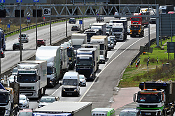 © Licensed to London News Pictures.29/03/2018<br /> Dartford, UK.<br />  Maundy Thursday Easter traffic chaos has started early on the<br /> M25, Darenth Interchange (Anti Clock-wise) NEAR Dartford in Kent<br />  Photo credit: Grant Falvey/LNP