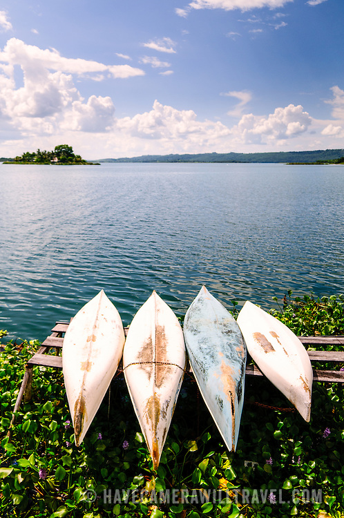 Four canoes lay upside down on a wooden platform in the reeds on the shoreline of Flores in Lake Peten Itza. To the top left of frame if the small island known simply as Radio Peten after the radio station that has broadcast from there since 1947.