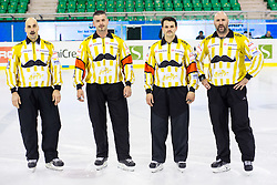 14.11.2014, Hala Tivoli, Ljubljana, SLO, EBEL, HDD Telemach Olimpija Ljubljana vs Dornbirner Eishockey Club, 18. Runde, in picture Linesman Matjaz Hribar, referee Peter Gebei, referee Milan Zrnic and linesman Martin Nemeth during the Erste Bank Icehockey League 18. Round between HDD Telemach Olimpija Ljubljana and Dornbirner Eishockey Club at the Hala Tivoli, Ljubljana, Slovenia on 2014/11/14. Photo by Matic Klansek Velej / Sportida