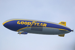 May 16, 2019 - Farmingdale, NY, U.S. - FARMINGDALE, NY - MAY 16:  The GoodYear Blimp hovers over the 18th hole during the first round of the 2019 PGA Championship at the Bethpage Black course on May 16, 2019 in Farmingdale, New York. (Photo by Rich Graessle/Icon Sportswire) (Credit Image: © Rich Graessle/Icon SMI via ZUMA Press)