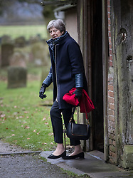 © Licensed to London News Pictures. 28/01/2018. Sonning, UK. British prime minister THERESA MAY attends a morning church service near her constituency home. Photo credit: Peter Macdiarmid/LNP