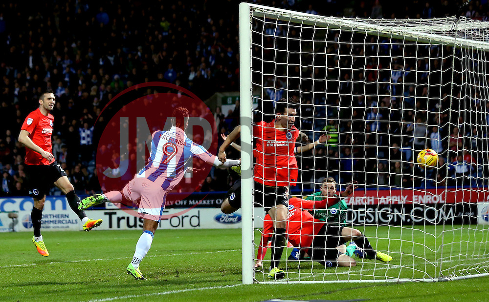 Elias Kachunga of Huddersfield Town scores a goal to make it 3-1 - Mandatory by-line: Robbie Stephenson/JMP - 02/02/2017 - FOOTBALL - John Smith's Stadium - Huddersfield, England - Huddersfield Town v Brighton and Hove Albion - Sky Bet Championship