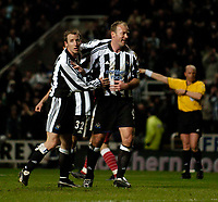 Photo. Jed Wee, Digitalsport<br /> Newcastle United v Olympiacos, UEFA Cup, 16/03/2005.<br /> Newcastle's Alan Shearer (R) celebrates with Lee Bowyer after scoring.