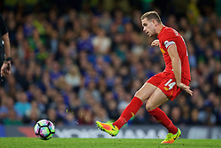 LONDON, ENGLAND - Friday, September 16, 2016: Liverpool's captain Jordan Henderson in action against Chelsea during the FA Premier League match at Stamford Bridge. (Pic by David Rawcliffe/Propaganda)