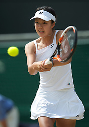 LONDON, ENGLAND - Saturday, July 3rd, 2010: Sachie Ishizu (JPN) during the Girls' Singles Final match on day twelve of the Wimbledon Lawn Tennis Championships at the All England Lawn Tennis and Croquet Club. (Pic by David Rawcliffe/Propaganda)
