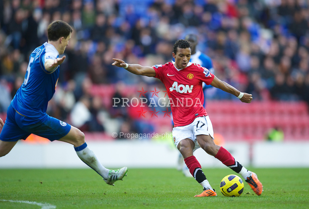 WIGAN, ENGLAND - Saturday, February 26, 2011: Manchester United's Nani in action against Wigan Athletic during the Premiership match at the DW Stadium. (Photo by David Rawcliffe/Propaganda)