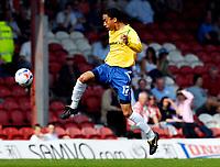 Photo: Alan Crowhurst.<br />Brentford v Nottingham Forest. Coca Cola League 1. 14/04/2007. Forest's James Perch attacks.