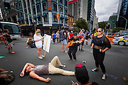 TPPA protest in Central Auckland.<br />
