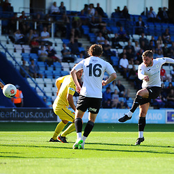 TELFORD COPYRIGHT MIKE SHERIDAN Steph Morley of Telford shoots during the National League North fixture between AFC Telford United and Nantwich Town on Saturday, September 21, 2019.<br /> <br /> Picture credit: Mike Sheridan<br /> <br /> MS201920-020