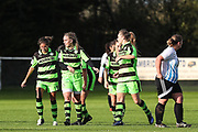 Forest Green Rovers Marika Niekowal(9) scores a goal 1-0 and celebrates during the South West Womens Premier League match between Forest Greeen Rovers Ladies and Marine Academy Plymouth LFC at Slimbridge FC, United Kingdom on 5 November 2017. Photo by Shane Healey.